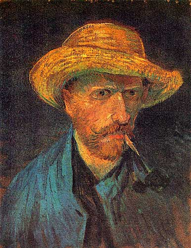 Vincent Van Gogh Self Portrait with Straw Hat and Pipe Paris 1887